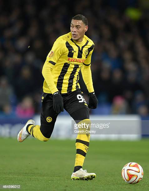 Guillaume Hoarau of Young Boys in action during the UEFA Europa League Round of 32 match between Everton and BSC Young Boys on February 26 2015 in...
