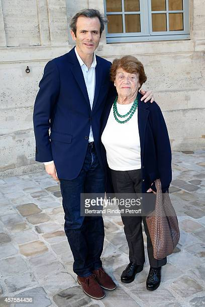 Guillaume Houze and his grandmother attend the 'Picasso National Museum Paris' Reopening party on October 19 2014 in Paris France