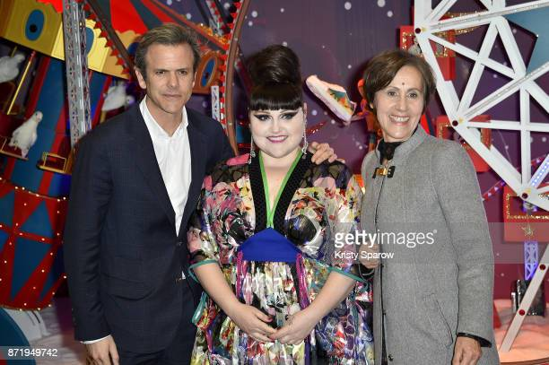 Guillaume Houze Beth Ditto and Agnes Vigneron attend the Christmas Decorations Inauguration at Galeries Lafayette Haussmann on November 8 2017 in...