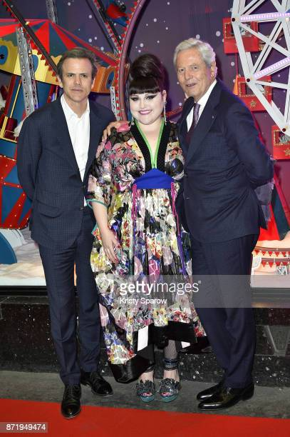 Guillaume Houze Beth Ditto and Philippe Houze attend the Christmas Decorations Inauguration at Galeries Lafayette Haussmann on November 8 2017 in...