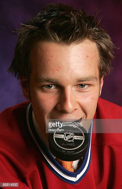 Guillaume Latendresse of the Montreal Canadiens poses for a portrait during the 2005 National Hockey League Draft on July 30 2005 at the Westin Hotel...