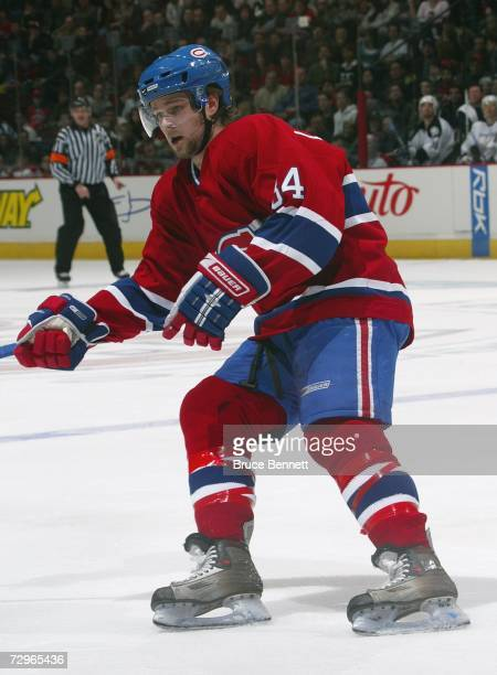 Guillaume Latendresse of the Montreal Canadiens skates against the Tampa Bay Lightning during their NHL game at Bell Centre on January 2 2007 in...