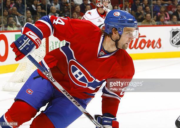 Guillaume Latendresse of the Montreal Canadiens skates in a game against the Carolina Hurricanes at the Bell Centre October 13 2007 in Montreal...