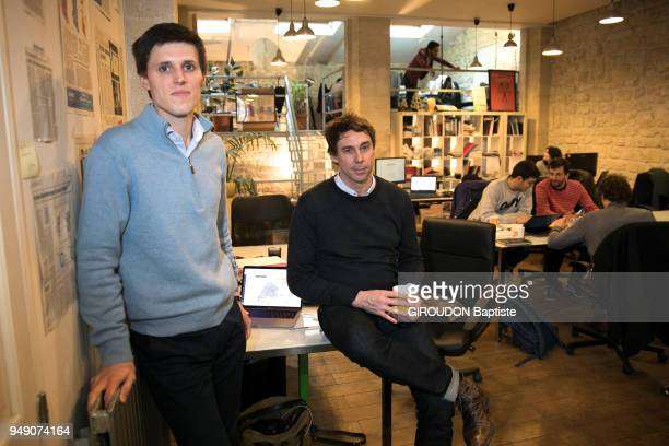 Guillaume Liegey and Arthur Muller cofounders of LMP a startup of electoral strategy specialized in the organization of campaigns are photographed...