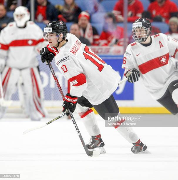 Guillaume Maillard of Switzerland skates against Canada during the second period of play in the Quarterfinal IIHF World Junior Championship game at...