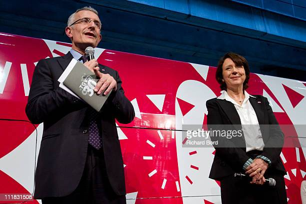 Guillaume Pepy and SNCF Voyages general manager Barbara Dalibard attend the SNCF presentation at Gare Montparnasse on April 7 2011 in Paris France...