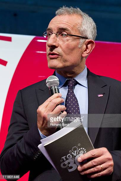 Guillaume Pepy attends the SNCF presentation at Gare Montparnasse on April 7 2011 in Paris France French train company SNCF are celebrating the 30th...