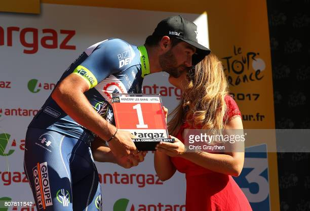 Guillaume van Keirsbulck of Belgium and team Wanty Groupe Gobert picks up his award for most agressive rider after stage four of Le Tour de France...