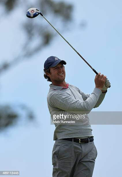 Guillaume Watremez of Belgium plays his tee shot at the 16th during the Madeira Islands Open - Portugal - BPI at Club de Golf do Santo da Serra on...