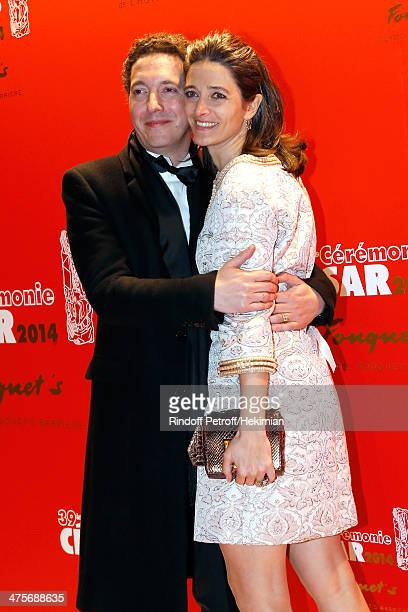 Guillaumre Gallienne and his wife Amandine Gallienne attend dinner after the 39th Cesar Film Awards 2014 at Le Fouquet's on February 28 2014 in Paris...