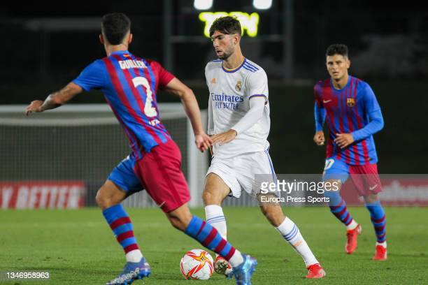 Guillem Jaime of FC Barcelona B and Theo Zidane of Real Madrid Castilla in action during Primera RFEF Group 2 football match played between Real...