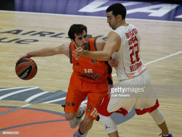 Guillem Vives #16 of Valencia Basket competes with Taylor Rochestie #22 of Crvena Zvezda mts Belgrade during the 2017/2018 Turkish Airlines...