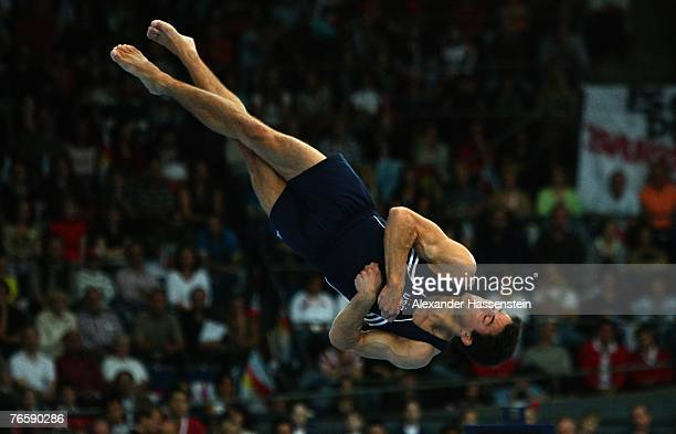 Guillermo Alvarez of the US competes in the mens Floor final of the 40th World Artistic Gymnastics Championships on September 8 2007 at the...