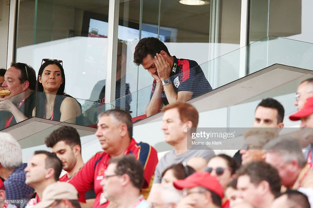 Guillermo Amor, coach of Adelaide United, sits in the stands during the round nine A-League match between Adelaide United and the Wellington Phoenix at Coopers Stadium on December 4, 2016 in Adelaide, Australia.