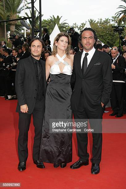 Guillermo Ariaga and Gael Garcia Bernal with a guest at the premiere of 'Transylvania' during the 59th Cannes Film Festival