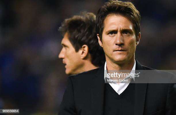 Guillermo Barros Schelotto coach of Boca Juniors and assistant Gustavo Barros Schelotto look on during a match between Boca Juniors and Alianza Lima...