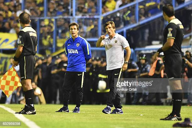Guillermo Barros Schelotto coach of Boca Juniors gestures during a match between Boca Juniors and River Plate as part of the Torneo de Verano 2017 at...
