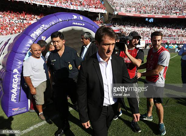 Guillermo Barros Schelotto coach of Boca Juniors gets into the field before a match between River Plate and Boca Juniors as part of sixth round of...