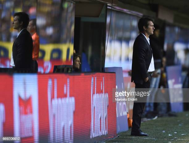 Guillermo Barros Schelotto coach of Boca Juniors looks on during a match between Boca Juniors and Patronato as part of Torneo Primera Division...
