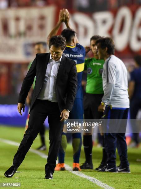Guillermo Barros Schelotto coach of Boca Juniors looks on during a match between Independiente and Boca Juniors as part of Superliga 2017/18 at...