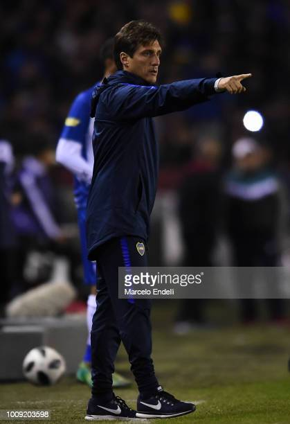 Guillermo Barros Schelotto of Boca Juniors gestures during a match between Boca Juniors and Alvarado as part of Round of 64 of Copa Argentina 2018 on...