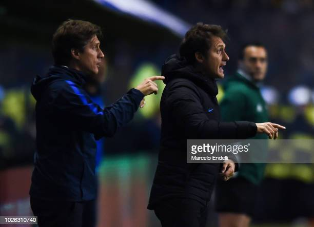 Guillermo Barros Schelotto of Boca Juniors gestures during a match between Boca Juniors and Velez as part of Superliga Argentina 2018/19 at Estadio...