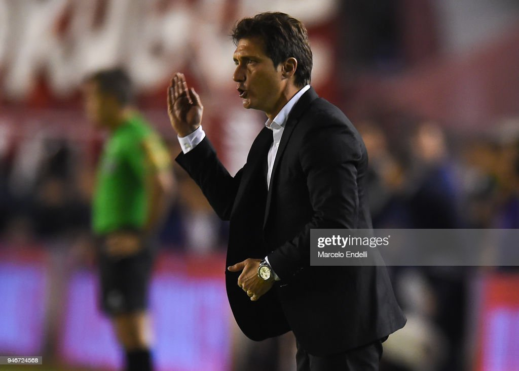 Guillermo Barros Schelotto of Boca Juniors gestures during a match between Independiente and Boca Juniors as part of Superliga 2017/18 at Libertadores de America Stadium on April 15, 2018 in Buenos Aires, Argentina.