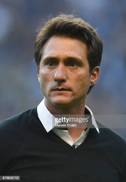 Guillermo Barros Schelotto of Boca Juniors looks on before a match between Boca Juniors and Racing Club as part of the Superliga 2017/18 at Alberto J...