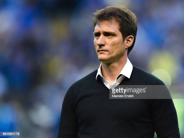 Guillermo Barros Schelotto of Boca Juniors looks on before a match between Boca Juniors and Arsenal as part of the Superliga 2017/18 at Alberto J...