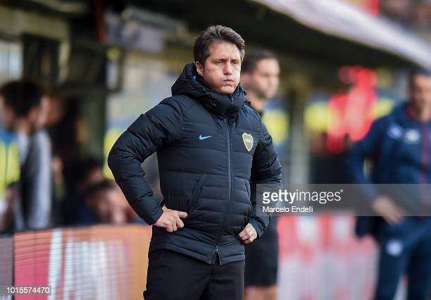 Guillermo Barros Schelotto of Boca Juniors looks on during a match between Boca Juniors and Talleres as part of Superliga Argentina 2018/19 at...