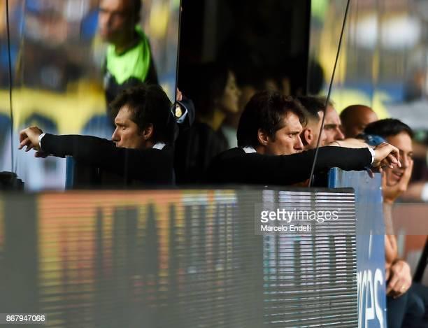 Guillermo Barros Schelotto of Boca Juniors looks on during a match between Boca Juniors and Belgrano as part of Superliga 2017/18 at Alberto J...