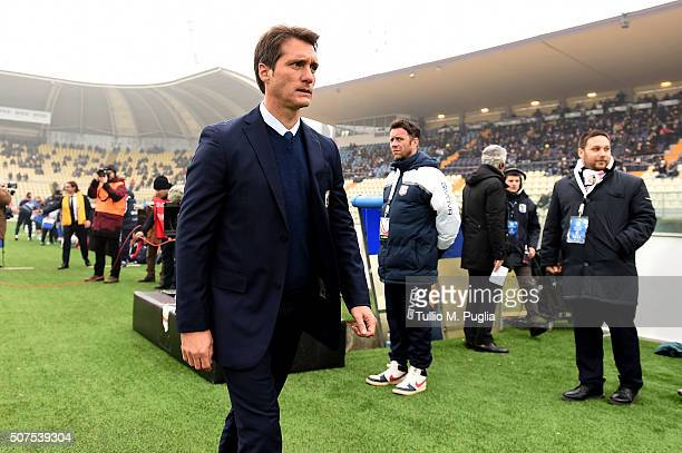 Guillermo Barros Schelotto of Palermo looks on during the Serie A match between Carpi FC and US Citta di Palermo at Alberto Braglia Stadium on...
