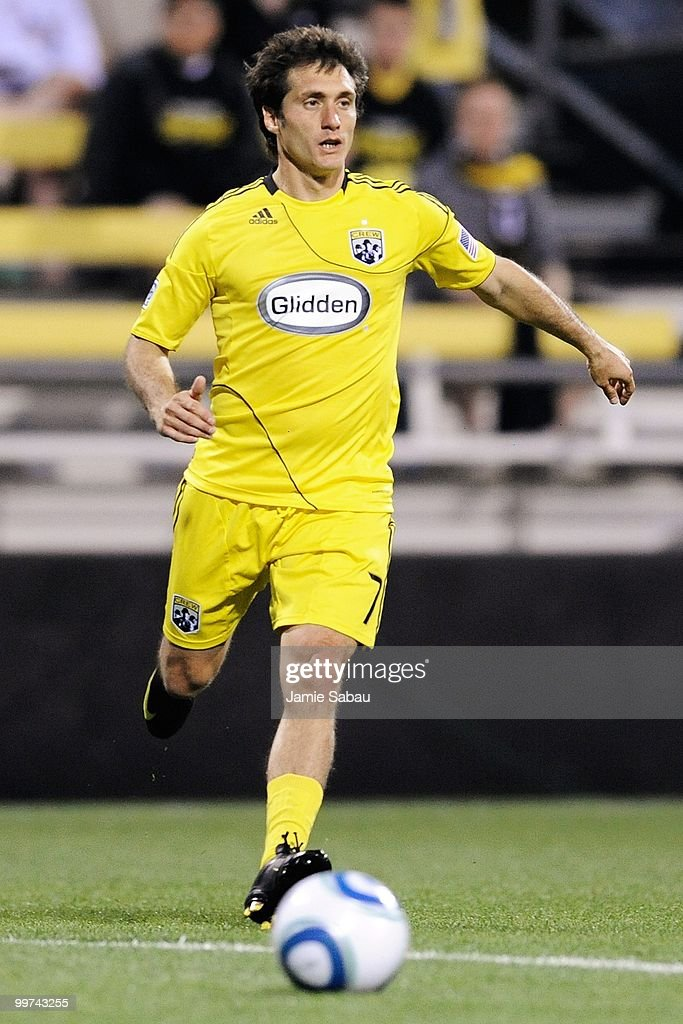 Guillermo Barros Schelotto #7 of the Columbus Crew controls the ball against Chivas USA on May 15, 2010 at Crew Stadium in Columbus, Ohio.