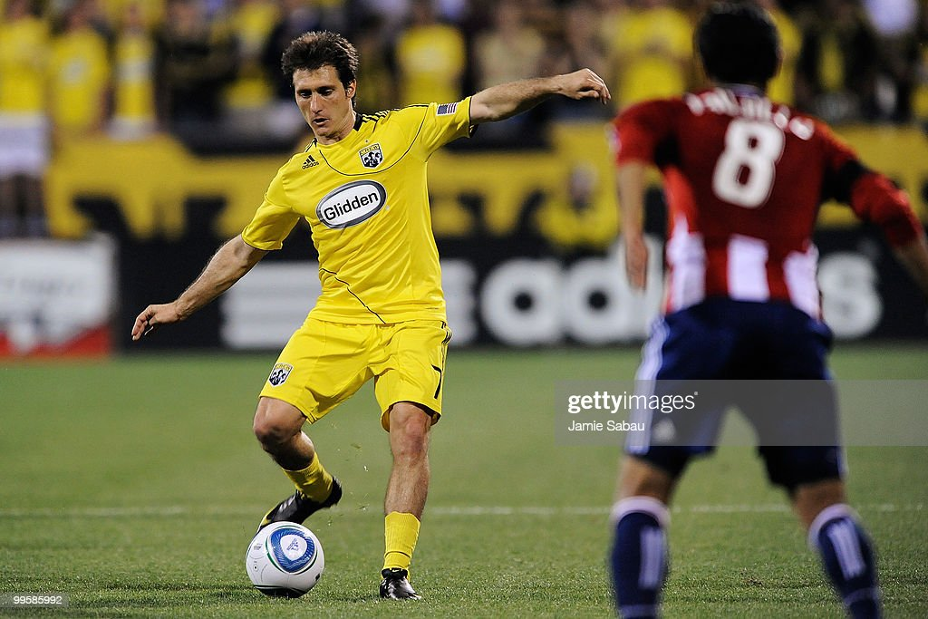 Guillermo Barros Schelotto #7 of the Columbus Crew kicks the ball against Chivas USA on May 15, 2010 at Crew Stadium in Columbus, Ohio. Schelotto scored the game winning goal on a penalty kick for the Crew's 1-0 win over Chivas USA.