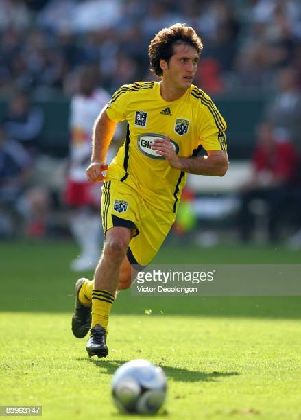 Guillermo Barros Schelotto of the Columbus Crew looks to pressure the play of the New York Red Bulls during their 2008 MLS Cup match at The Home...