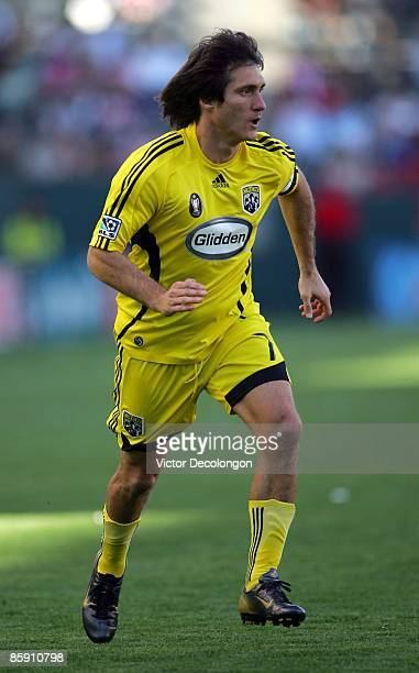Guillermo Barros Schelotto of the Columbus Crew paces the play during the MLS match against Chivas USA at The Home Depot Center on April 5 2009 in...