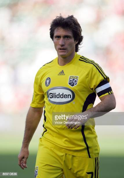 Guillermo Barros Schelotto of the Columbus Crew walks to the corner to take a corner kick during the MLS match against Chivas USA at The Home Depot...