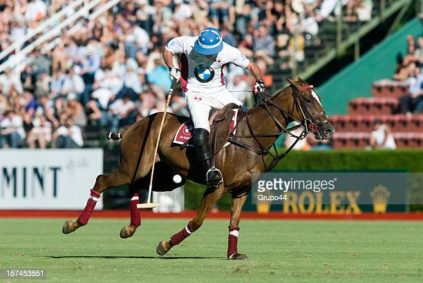 Guillermo Caset of La Aguada controls the ball during a polo match between Ellerstina and La Aguada as part of the 119th Argentina Open Polo...