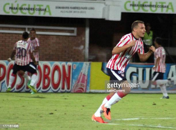 Guillermo Celis of Junior celebrates a goal during a match between Cucuta and Junior as part of the Liga Postobon II at General Santander Stadium on...