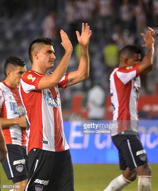 Guillermo Celis of Junior celebrates after winning a first leg match between Deportes Tolima and Ateltico Junior as part of Semi Finals of Liga...