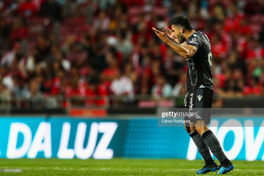 Guillermo Celis of Vitoria SC celebrates the second goal during the Liga NOS match between SL Benfica and Vitoria SC at Estadio da Luz on August 10, 2018 in Lisbon, Portugal.