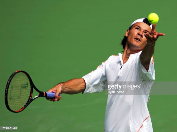 Guillermo Coria of Argentina in action during his match against Juan Carlos Ferrero of Spain during day six of the Australian Open Grand Slam at...