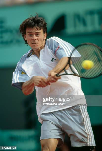 Guillermo Coria of Argentina in action during the French Open Tennis Championships at Roland Garros Stadium in Paris, circa June 2003. Coria was...