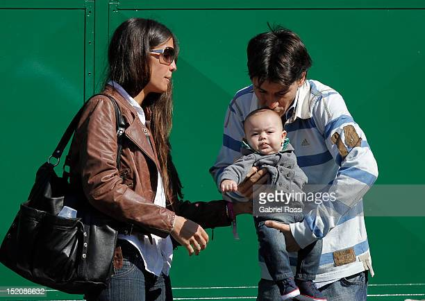 Guillermo Coria of Argentina with his wife and his son before the match between Argentina and Czech Republic as part of the second third day of the...