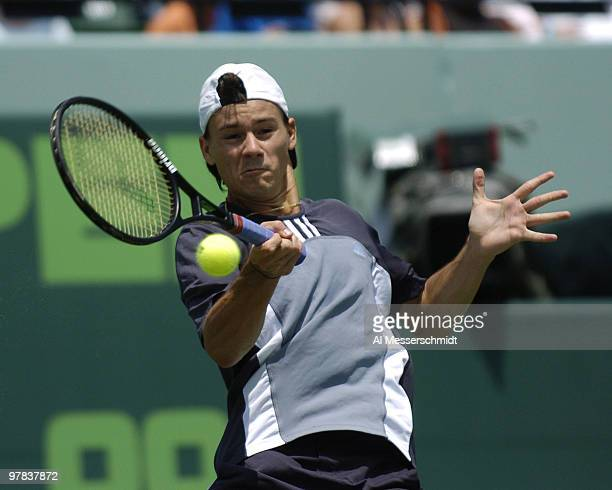 Guillermo Coria retires after a back injury during the men's singles match at the NASDAQ 100 Open, April 4 Key Biscayne, Florida.