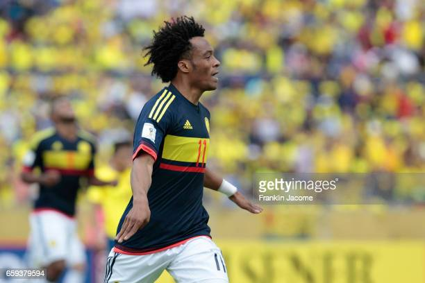 Guillermo Cuadrado of Colombia celebrates after scoring the second goal of his team during a match between Ecuador and Colombia as part of FIFA 2018...