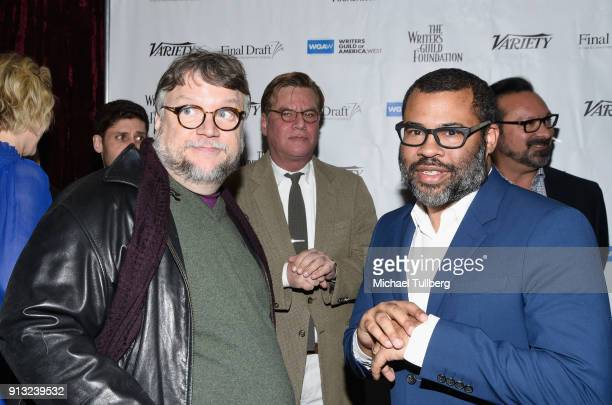 Guillermo del Toro Aaron Sorkin Jordan Peele and James Mangold attend the Writers Guild's 'Beyond Words 2018' at Writers Guild Theater on February 1...