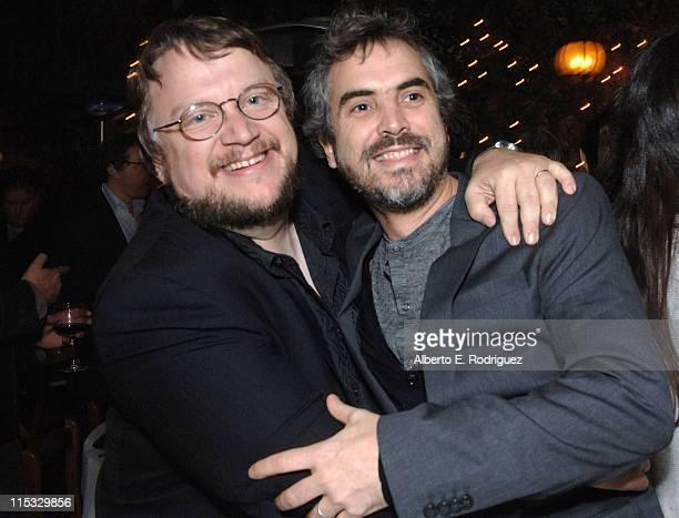 Guillermo del Toro and Alfonso Cuaron during Dinner for Guillermo Del Toro at Pane e Vino in Los Angeles, California, United States.