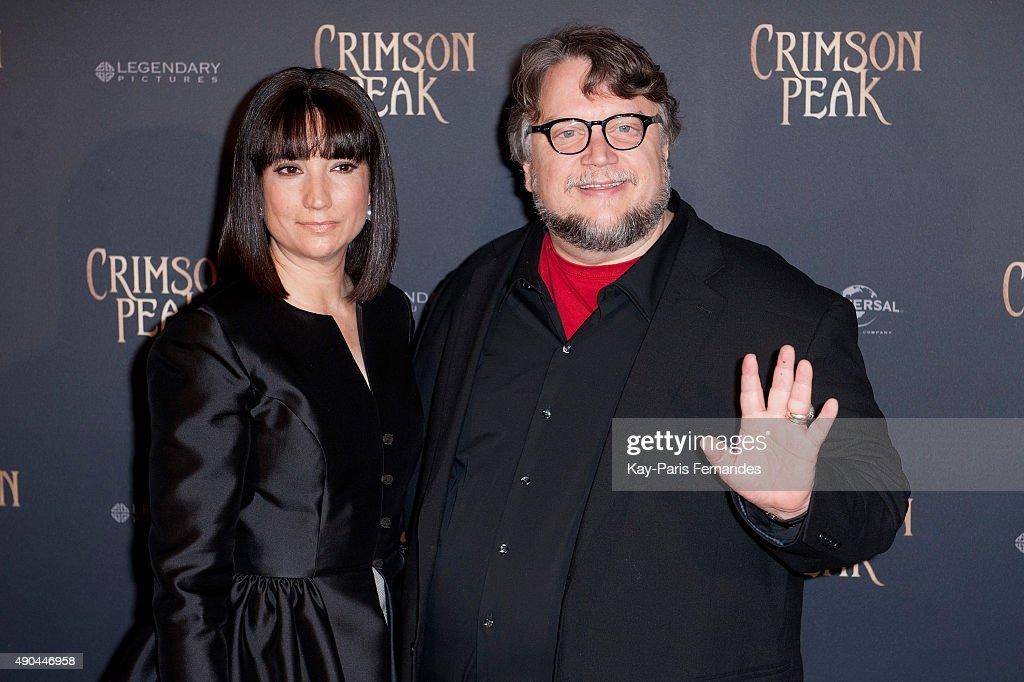 Guillermo del Toro (R) and his wife Lorenza Newton attend the 'Crimson Peak' Paris Premiere at UGC Cine Cite Bercy on September 28, 2015 in Paris, France.