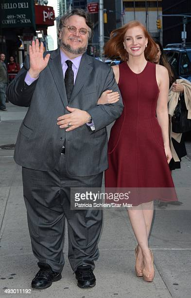 Guillermo Del Toro and Jessica Chastain are seen on October 16 2015 in New York City